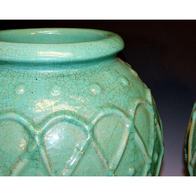 Galloway Pair of Galloway Terracotta Company Urns For Sale - Image 4 of 8