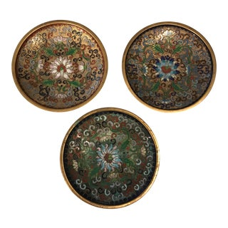 Cloisonné Enamel Nesting Trays - Set of 3 For Sale
