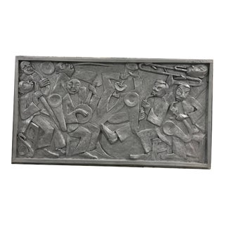 Late 20th Century Art Deco Relief Panel Jazz Musicians For Sale