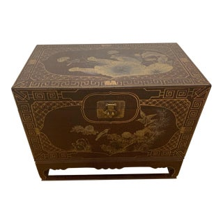 Chinoiserie Style Painted Trunk on Stand For Sale