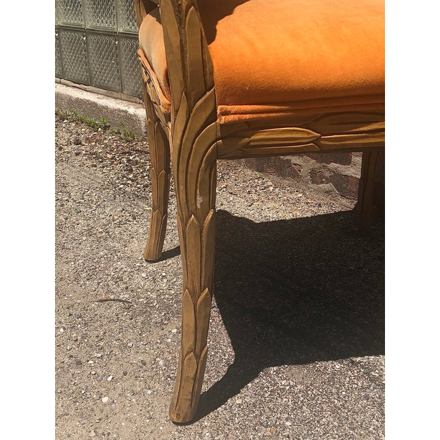 Mid 20th Century Carved Palm Beach Style Dining Side Chairs- a Pair For Sale - Image 5 of 13