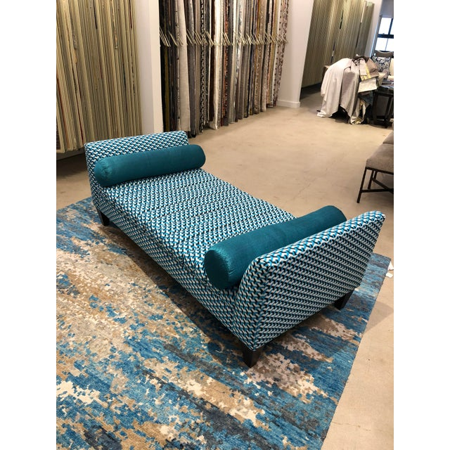 Contemporary Teal Patterned Daybed For Sale - Image 10 of 10