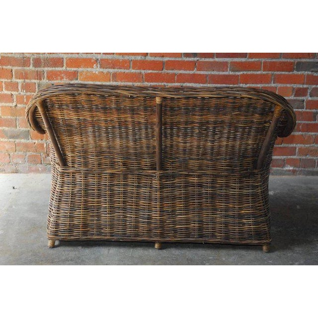 Organic Modern Woven Rattan and Wicker Settee - Image 7 of 9