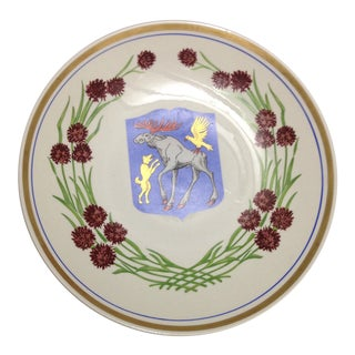 Moose & Thistle Upsala Ekeby Sweden Wall Plate For Sale