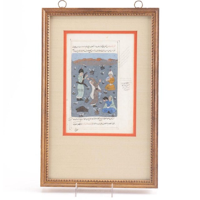 Truly unique piece! A double-sided Indo-Persian gouache manuscript page featuring a miniature on paper. This double-sided...