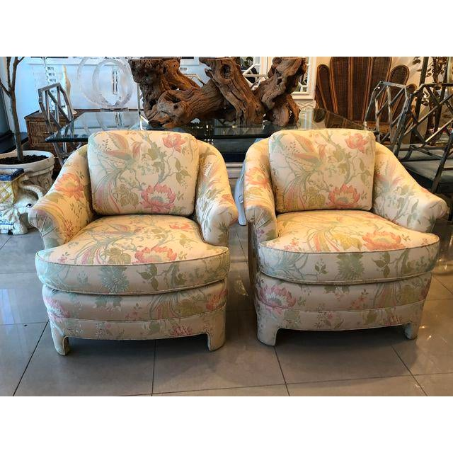 Vintage Pastel Tropical Birds Club Lounge Chairs - a Pair For Sale In West Palm - Image 6 of 11