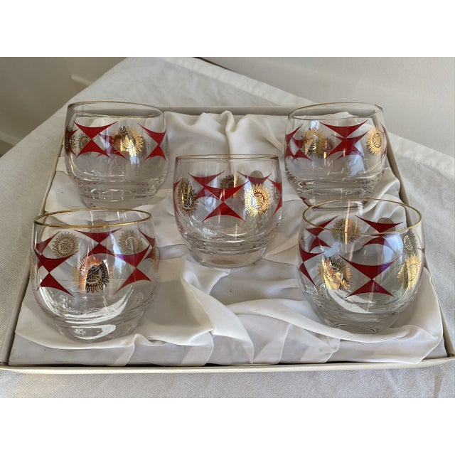 RARE set of 9 authentic mid-century Sasaki roly poly glasses made in Japan. Very unique red geometric pattern with gold...