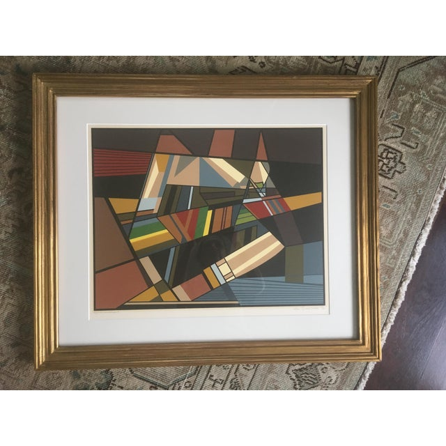 """Vintage Mid-Century Modern Abstract Geometric """"African Landscape I"""" Lithograph Print For Sale - Image 9 of 10"""