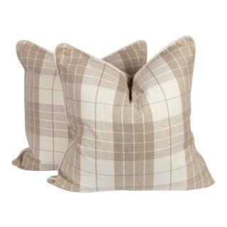 Cream & Beige Plaid Harlowe Pillows - A Pair
