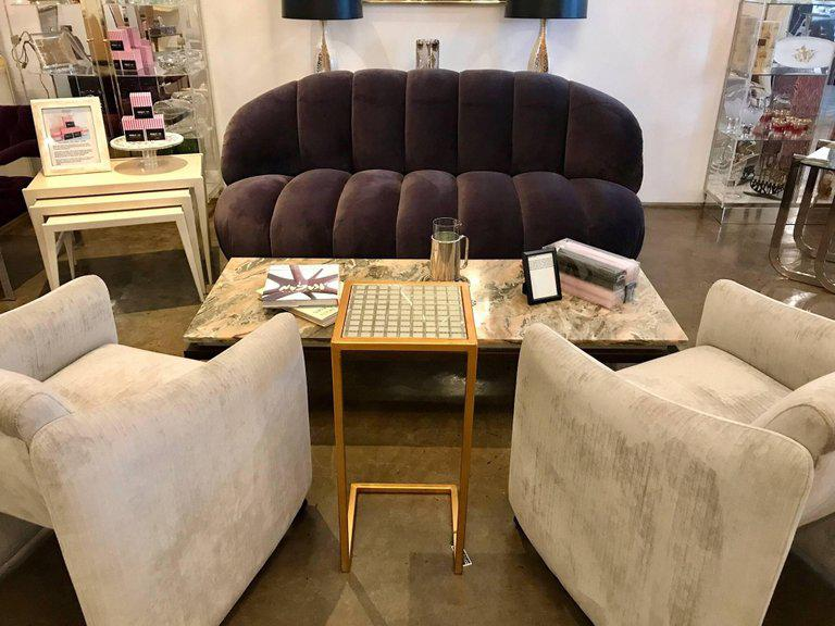 A. Rudin Modernist 20th Century Channel Back Sofa In Velvet   Image 9 Of