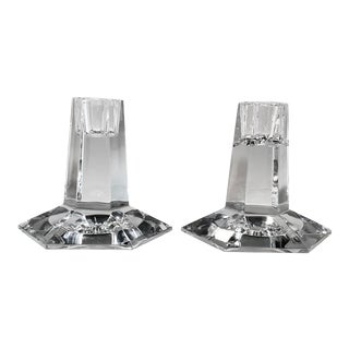 1980s Tiffany Frank Lloyd Wright Crystal Candle Holders - a Pair For Sale