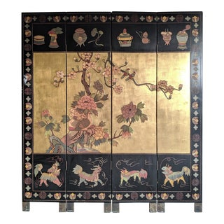 1960s Black Lacquer Chinoiserie Screen For Sale