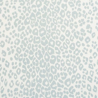 Schumacher Iconic Leopard Indoor/Outdoor Fabric in Sky For Sale