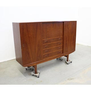 Mid-Century Danish Modern Omann Jun Teak Secretary Credenza Highboard Preview