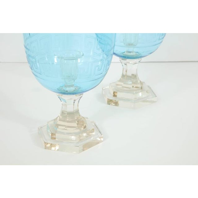Pair of Blue Glass Hurricanes For Sale - Image 4 of 8