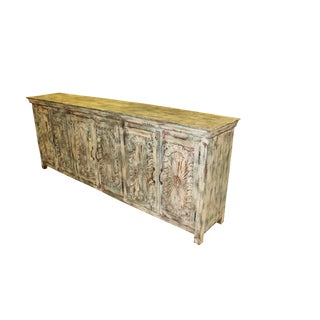Antique Chakra Indian 6 Door Sideboard Cabinet For Sale