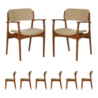 Vintage Set of Eight Danish Mid Century Erik Buch Dining Chairs For Sale