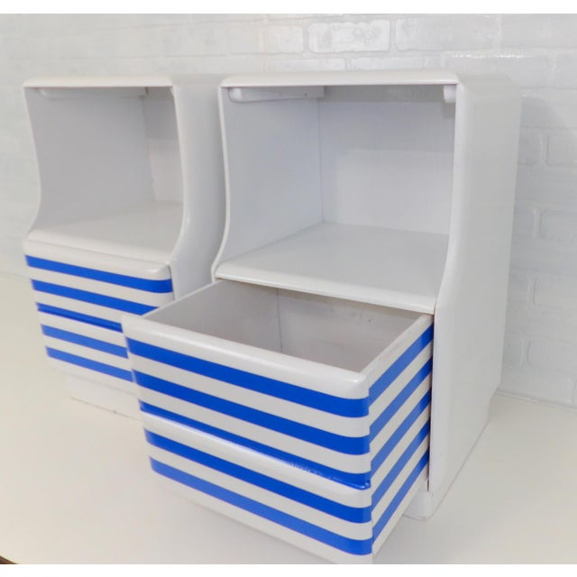 Mid-Century Modern White & Blue Striped Nightstands - A Pair For Sale - Image 5 of 10
