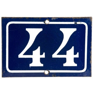 Vintage French Enamel House Number 44