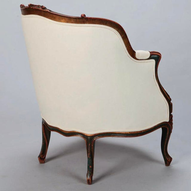 20th Century Finely Carved French Louis XV Style Bergere Armchair For Sale - Image 4 of 10