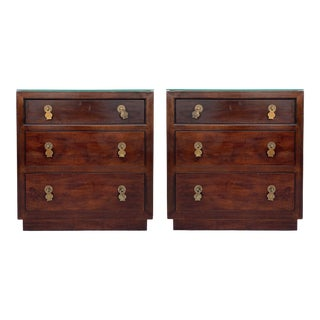 Henredon 3 Drawer Chests Nightstands With Brass Hardware - Pair For Sale