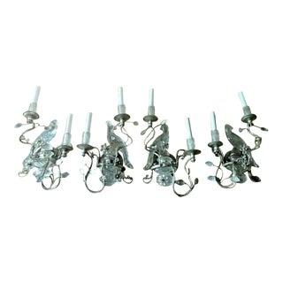 Maison Bagues Rock Crystal / Crystal Parrot Sconces - 2 Sets For Sale