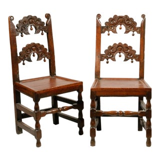 Vintage English Yorkshire Carved Chairs- A Pair For Sale