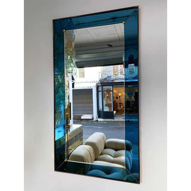 Mirror Blue and Brass by Cristal Art. Italy, 1960s For Sale - Image 11 of 13