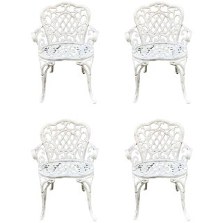Set of Four Early Cast Iron Garden Chairs For Sale