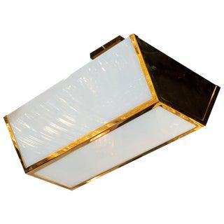 French Art Deco Semi-Flush Mount Brass & Frosted Glass Chandelier by Jean Perzel For Sale