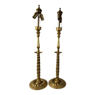 Antique Vermeil Candle Stick Lamps - a Pair For Sale