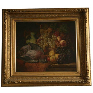 Still Life Painting of Basket of Fruit and Bird For Sale