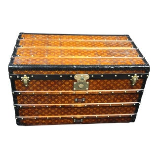 1900s Louis Vuitton Courrier Steamer Trunk in Woven Canvas,Malle Louis Vuitton For Sale