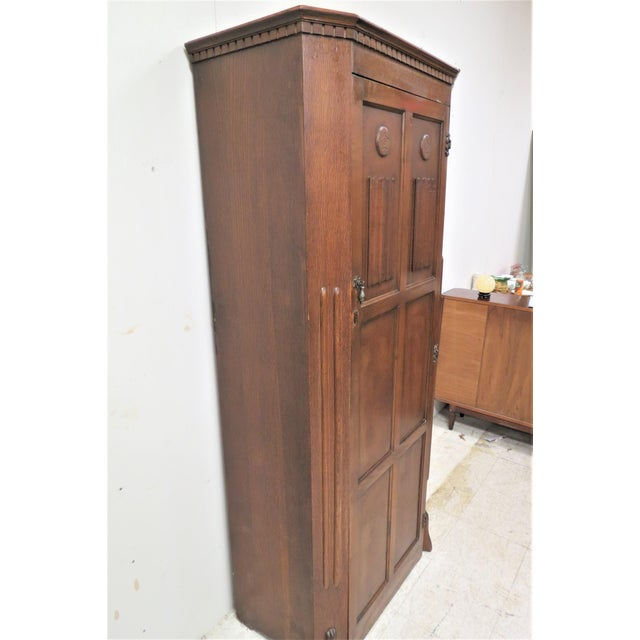 Brown English Tiger Oak Linen Fold Wardrobe With Interior Mirror For Sale - Image 8 of 13