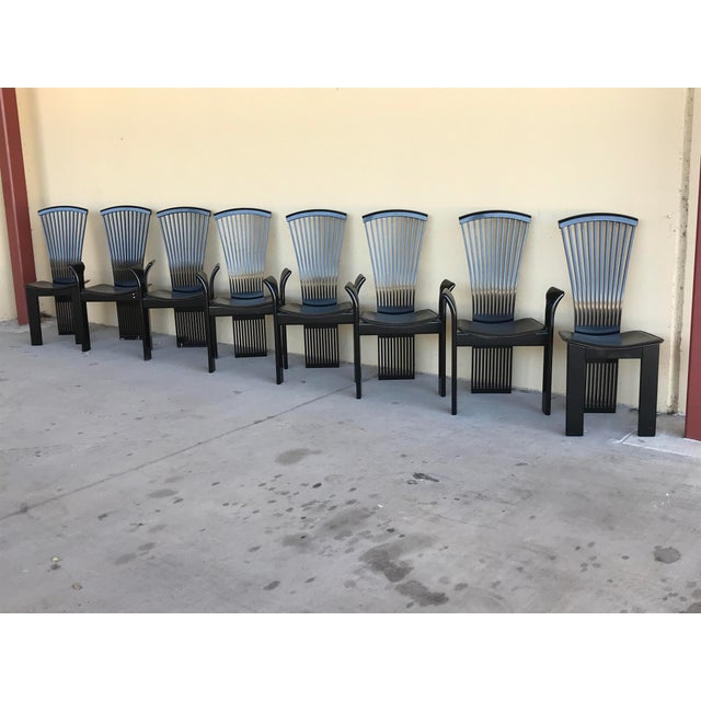 Pietro Costantini 1970s Vintage Pietro Costantini Tall Fan Back Black Lacquered Dining Chairs - Set of 8 For Sale - Image 4 of 12