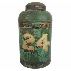 English Painted Tea Canister - Image 1 of 2