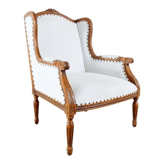 French Louis XVI Style Upholstered Wingback Armchair For Sale