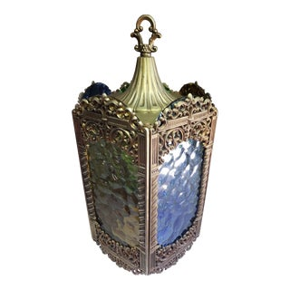 Vintage Mid Century Moroccan Ceiling Swag Hanging Glass Lantern For Sale