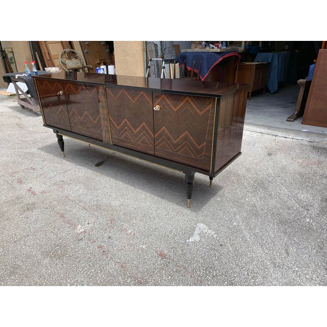 """1940s French Art Deco Exotic Macassar Ebony """"Zigzag"""" Buffet/Sideboard For Sale - Image 9 of 13"""