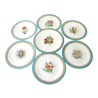 Antique Royal Worcester Victorian Floral Turquoise Dessert Plates and Compote - Set of 7 For Sale