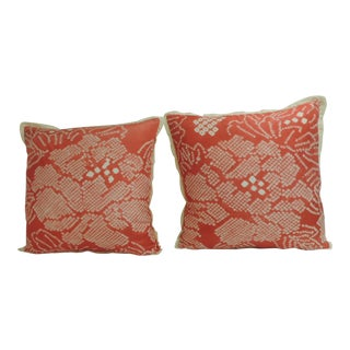 Pair of Vintage Japanese Pink and White Obi Decorative Pillows For Sale
