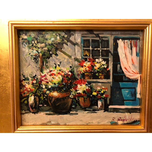"""Impressionistic Outdoor Garden Oil on Canvas in a Gilt Frame - Framed and Signed by Artist Dimensions: - Framed: 13.5""""H..."""