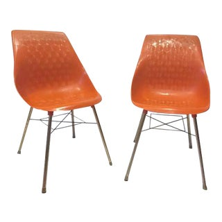 Mid Century Modern Shell Chairs Molded Plastic Burnt Orange - A PAIR