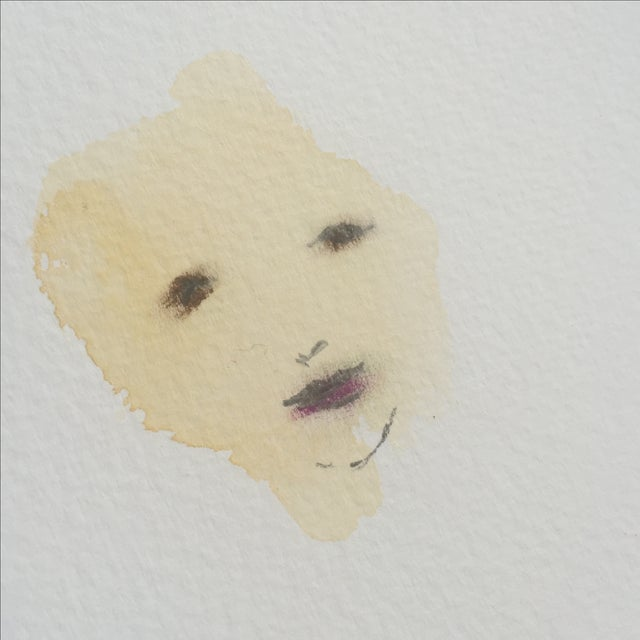 Lori Fox Abstract Watercolor Face - Image 3 of 5