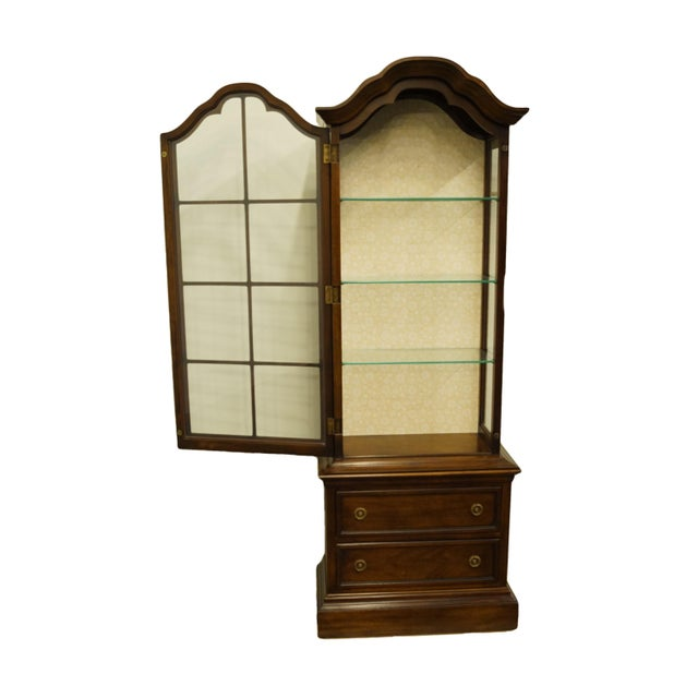 """Brandt 20th Century French Country Brandt 25"""" Illuminated Curio Display Cabinet With Bonnet Top For Sale - Image 4 of 13"""
