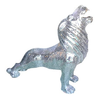 Hollywood RegencyScale Glam Mosaic Lion For Sale