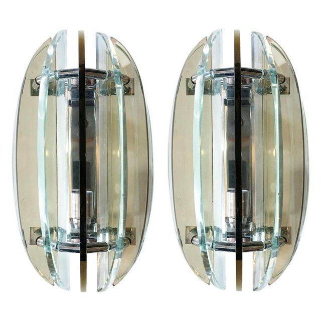 Glass Italian Beveled Sconces by Veca - a Pair For Sale - Image 7 of 7