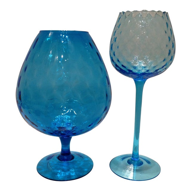 Blue Optic Glass Murano Vases - A Pair - Image 1 of 11