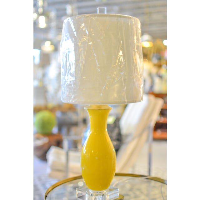 Yellow Glazed Vase Table Lamps - A Pair - Image 7 of 7