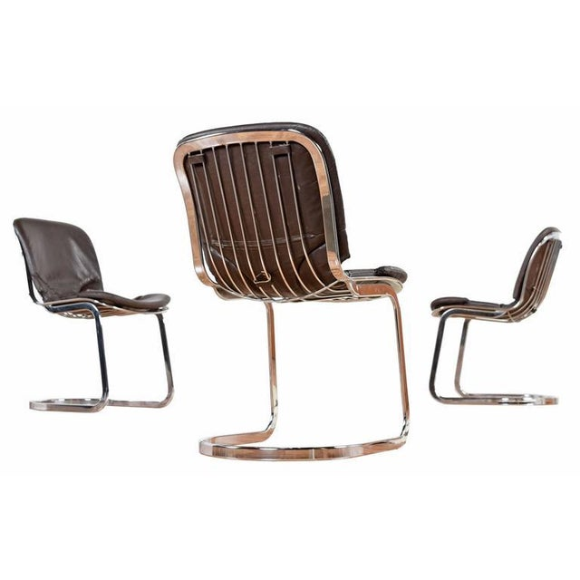Modern Cidue Chrome and Leather Dining Chairs - Set of 6 For Sale - Image 3 of 8